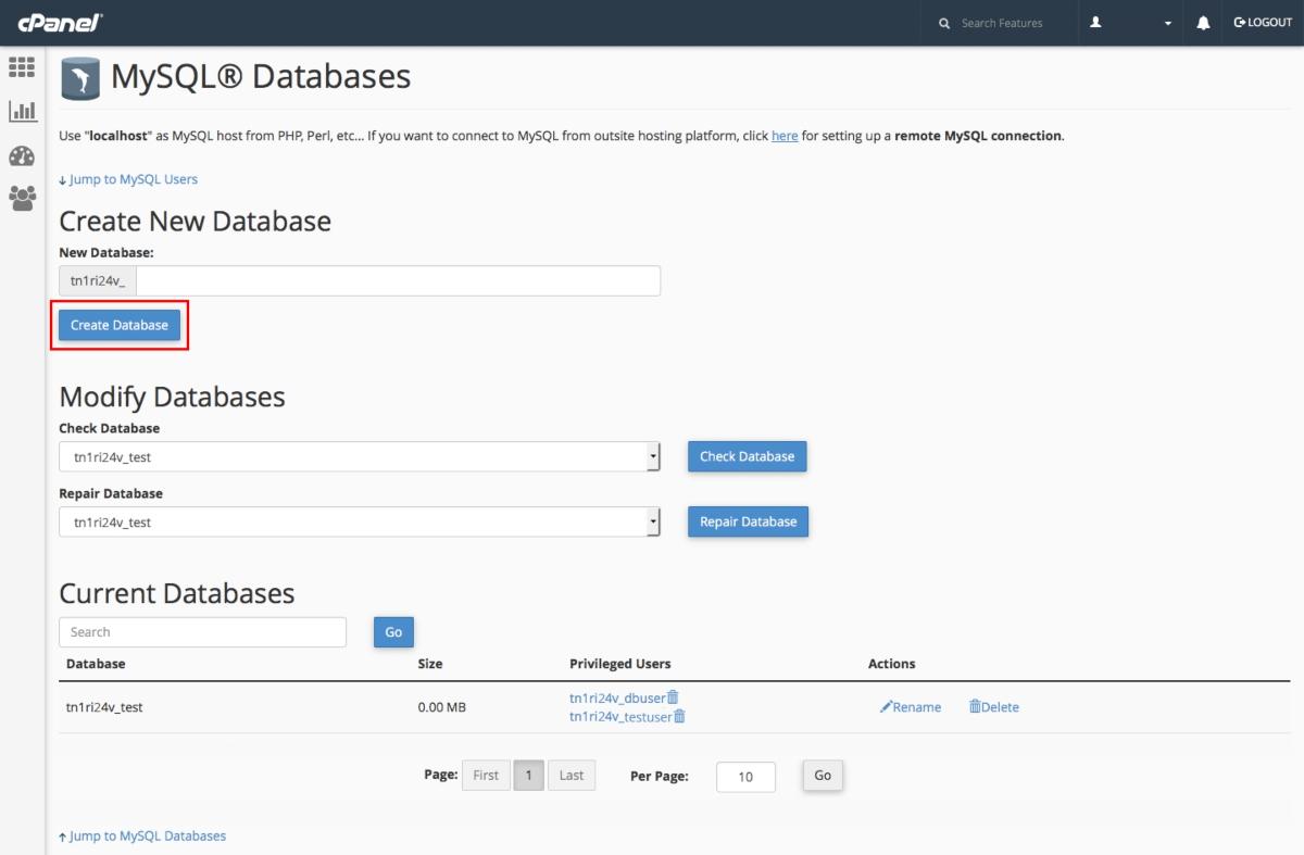 شرح إنشاء قاعدة بيانات من خلال السى بانل cPanel